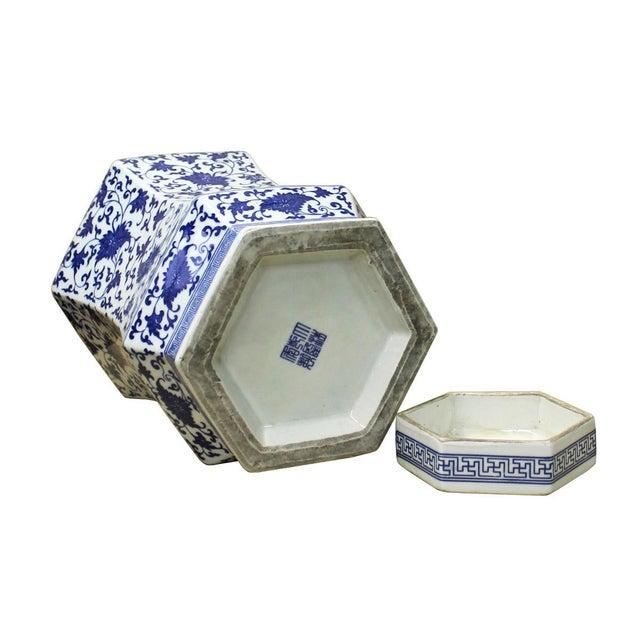Image of Chinese Blue & White Hexagon Porcelain Jar