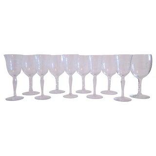 Vintage Crystal Botanical Wine Glasses - Set of 10