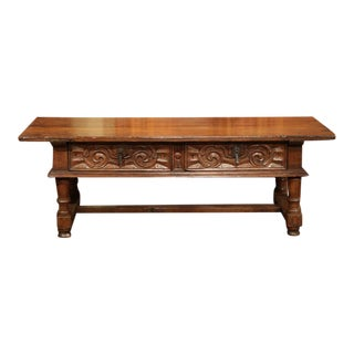 19th Century French Carved Chestnut Coffee Table from the Pyrenees Mountains