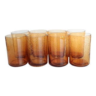 Amber Bubble Glass Juice Glasses - Set of 8