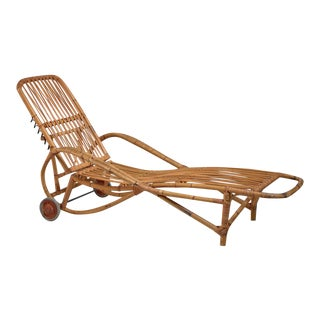 Adjustable Bamboo garden chaise longue, Germany, 1930s