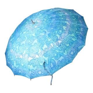 Paisley Sky Blue Polan Katz Parasol Umbrella