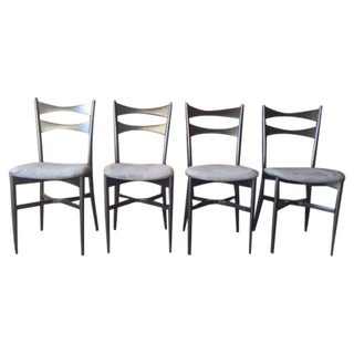 Mid-Century Gio Ponti Style Ladder Back Chairs - Set of 4