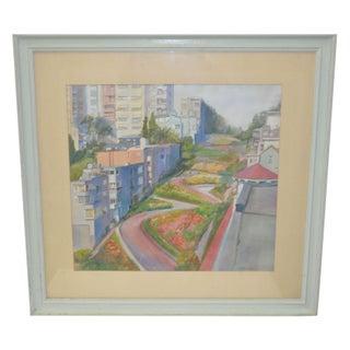 Vintage Watercolor - Lombard Street, San Francisco