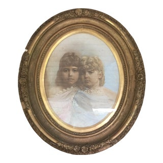 Gilded Oval Antique Frame With Sisters Print