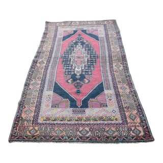 Antique Turkish Anatolian Tribal Hand-Knotted Oushak Carpet - 3′11″ × 7′7″