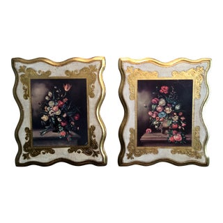 Italian Florentine Gilt Wood Framed Vintage Pictures - A Pair