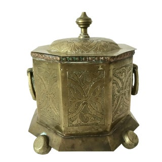 Antique Moroccan Brass Tea Caddy Box
