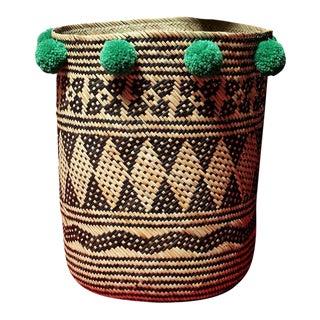 Borneo Drum Tribal Straw Basket with Lush Green Pom-poms