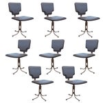 Image of Naugahyde & Brushed Steel Dining Chairs - Set of 8