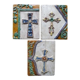 Crackle Glaze Ceramic Wall Plaques - Set of 3