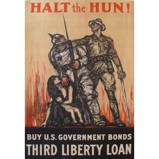 1918 Vintage American WWI Poster, Halt the Hun