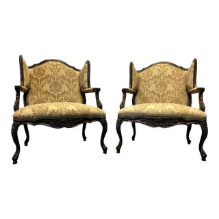 """Hooker """"Sarah"""" French Country Bergere Chairs - A Pair"""