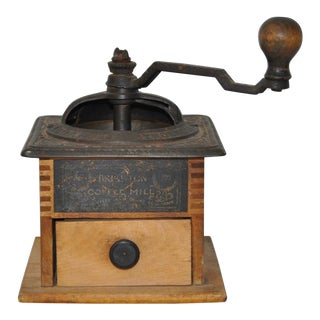 Antique Cast Iron & Wooden Coffee Mill