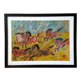 """Caballos Salvages"" Oil Pastel by Octavio Rojo"