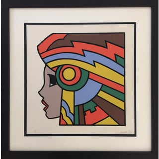 "1977 Silkscreen Signed Yamada ""Girl With Headdress"" Pop Art"