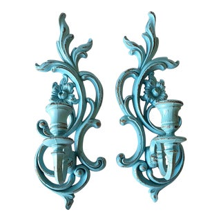 Turquoise Syroco French Candle Sconces - A Pair