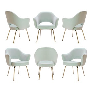 Saarinen Executive Arm Chairs in Mint Velvet, 24k Gold Edition - Set of 6