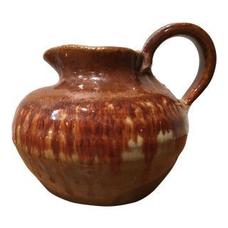 Mid-Century Brown Pottery Pitcher