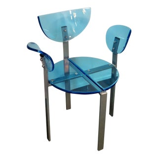 Blue Acrylic and Metal Dining Chair