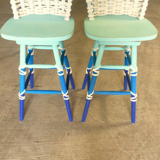 Image of Nautical Wooden Bar Stools - A Pair