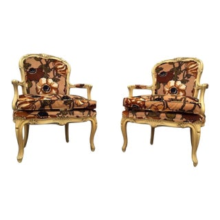 Hollywood Regency-Style Floral Chairs - A Pair
