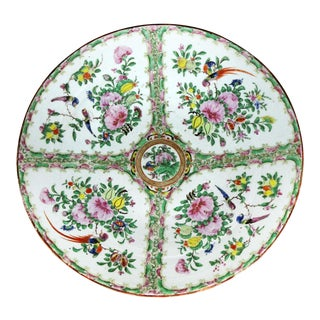Large Antique Chinese Qing Rose Medallion Porcelain Charger or Platter Birds and Floral