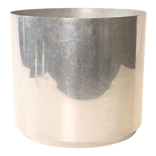Mid Century Modern Brushed Aluminum Round Planter