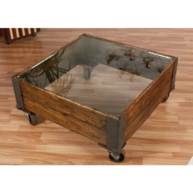 glass top industrial coffee table chairish