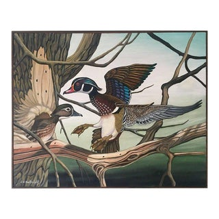 "Original Oil on Canvas Painting ""Nest Hunting"" By G.W. Kestenholtz"
