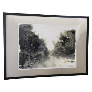 Signed Ink Wash Landscape Painting