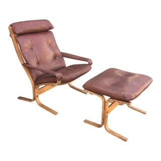 Westnofa Leather Chair & Ottoman