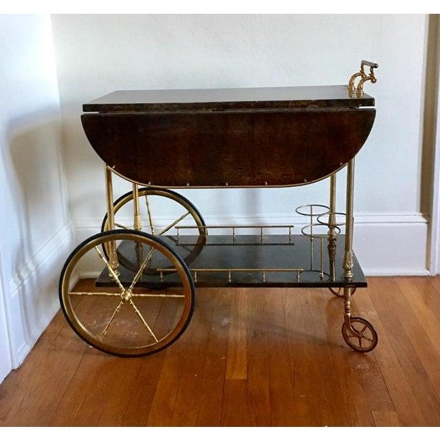 Aldo Tura Goatskin Bar Cart - Image 6 of 7