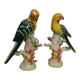 Vintage Hand Painted Chinese Porcelain Parrots - a Pair