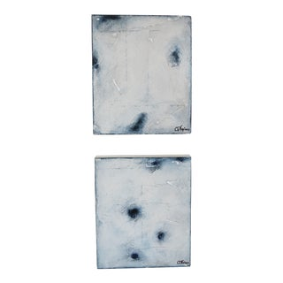 """Ambient Indigo"" Original Oil & Pastel Paintings - a Pair"
