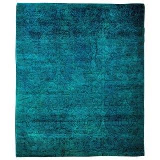 "Vibrance, Hand Knotted Blue Wool Area Rug - 4' 0"" X 4' 9"""
