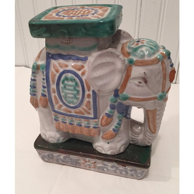 Vintage Painted Terra Cotta Elephant - Image 6 of 7
