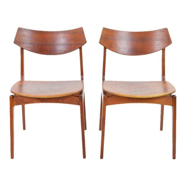 Erik Buck Vintage Danish Modern Teak Dining Chairs - Pair - Image 1 of 9