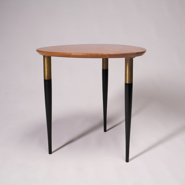 Image of Swedish Brown & Black Wooden Side Table