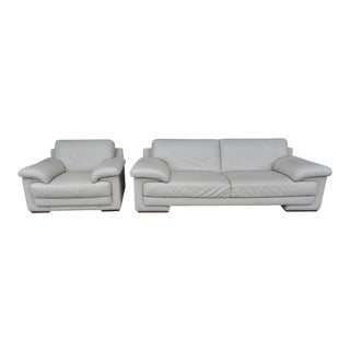 Natuzzi Off White Leather Sofa Set - Settee & Arm Chair