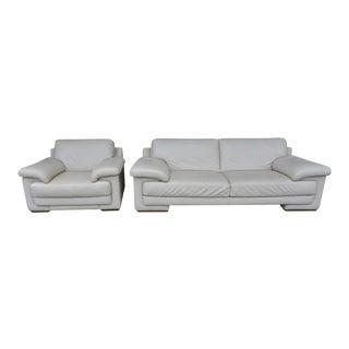 Natuzzi Beige Leather Sofa Set - Settee & Arm Chair