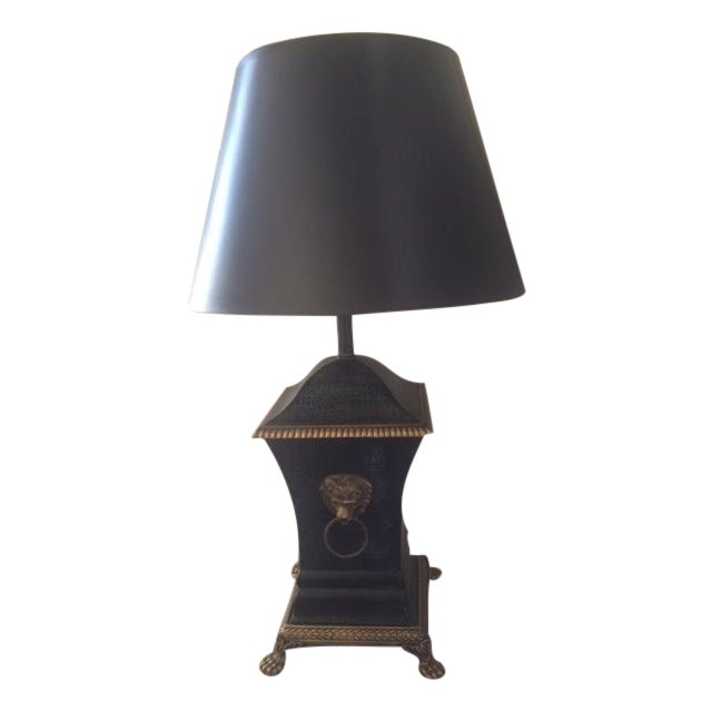 Bronze Decorator Library Lamp With Lion Heads - Image 1 of 5