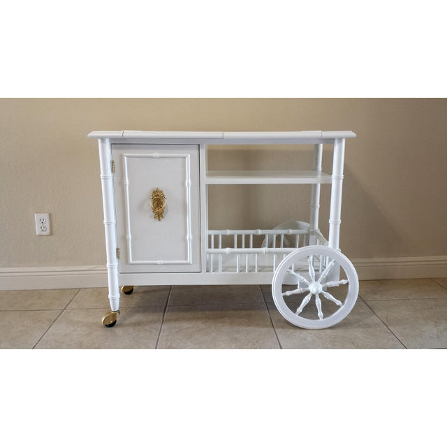 Hollywood Regency Faux Bamboo Bar Cart - Image 2 of 11