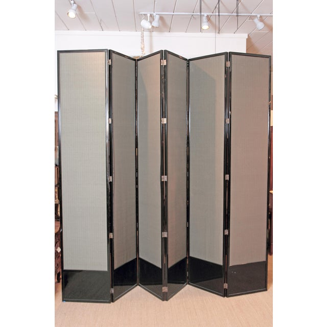 Large Neo Classical Six-Panel Black Lacquer and Fabric Screen/Room Divider - Image 8 of 11