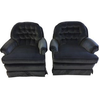 Tufted Indigo Velvet Armchairs - A Pair