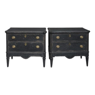 Pair of Black Two Drawer Commodes (#62-21)