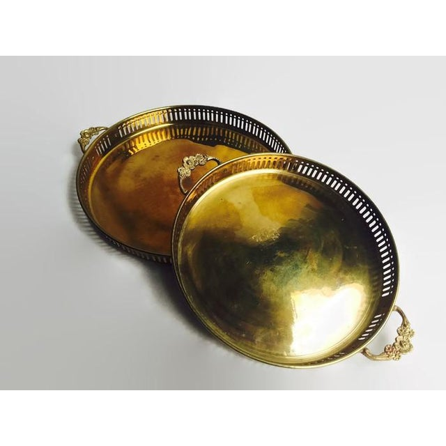 Image of Vintage Pierced Brass Trays With Handles - Pair