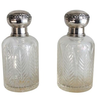 Lapeyre Petite Crystal & Sterling Decanters - Pair