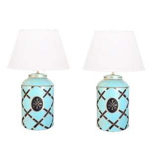 Dana Gibson Tiffany Blue Tea Caddy Lamps - a Pair