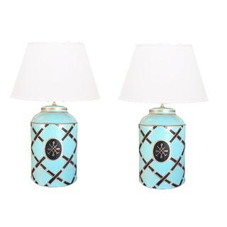 Dana Gibson Tiffany Blue Tea Caddy Lamps - a Pair